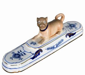 Porzellan Mops Vintage Hundefigur Briefbeschwerer & Zwiebelmuster Hund Statue