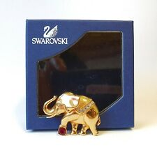 More details for swarovski red crystal gold circus elephant brooch pin with swan signature