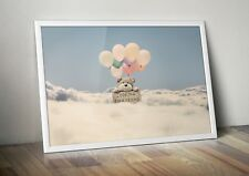 Floating Teddy Bear Print - A3, Nursery Baby Wall Decor Art Poster Picture