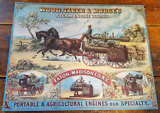 WOOD TABER MORSE'S STEAM ENGINE WORKS AGRICULTURAL FARM MACHINES PAPER POSTER