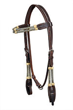 Western Dark Oil Rawhide Braided Brow band Style Headstall with Quick Release