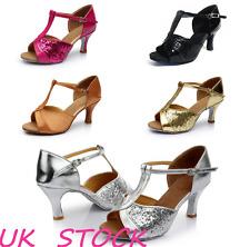 Women Ladies Diamante Stiletto Dance Shoes Evening Mid Heels Ankle strap size UK