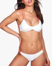 BNWT Boohoo Valencia Neon Strap Detail Crop Bikini White Size 10