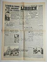 N528 La Une Du Journal libres 28 décembre 1944 la bataille des Ardennes