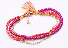 HIPPY ORANGE/PURPLE BRACELET BEADS STRING BRAID GOLD TONE CHAIN UNIQUE (CL18)