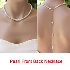 Fine Pearl Back Drop Necklace Long Back Necklace Pearl For Wedding Jewelry DLUS