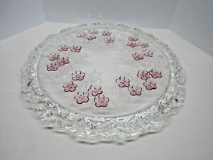Vintage Mikasa Crystal Glass Cake Plate Frosted Embossed Pink  Flowers