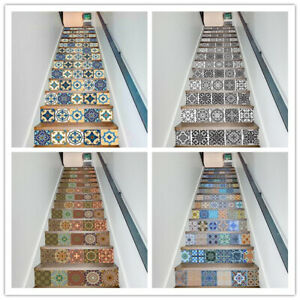 13Pcs Stair Riser Staircase Stickers Mural Vinyl Wall Tiles Decals Self Adhesive