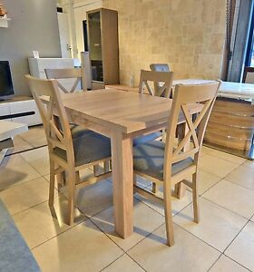 SET of extending dining table and 4 solid wood chairs SMALL & STRONG Kam03