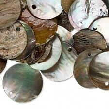 10 Luster Grey 20mm Coin Mussel Shell Links Drops Beads