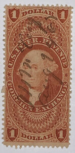 Travelstamps: 1862-1871 US Revenue (Scott R68c) $1 FOREIGN EXCHANGE USED, NG