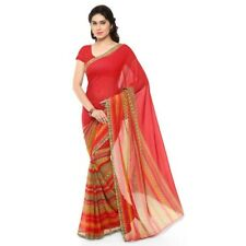Red Georgette Printed Bollywood Saree Party Indian Pakistani Designer Sari