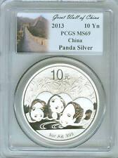2013 CHINA 1 OZ .999 SILVER PANDA 10 YUAN PCGS MS69
