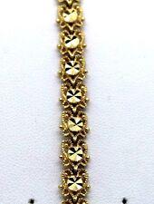 """Bracelet SOLID 14K Yellow Gold flower 7.5""""  Heavy 7.4 mm"""