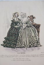 GRAVURE COULEURS LA MODE-OLD FASHION PRINT XIXe SIECLE COSTUME MD139