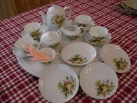 VTG Sears Porcelain Toy Tea Hostess Set, Musical Teapot,Golden Rose 27 pcs Japan