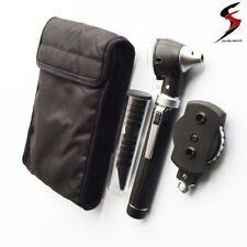 SS Fiber Optic LED Otoscope Ophthalmoscope  ENT Diagnostic Examination Kit CE UK