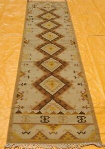 Southwestern Navajo Kilim Dhurry Handmade Rug Runner Wool Large Kelim Rug 2.6x10