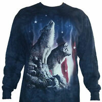 The Mountain Adult Long Sleeve T-Shirt Wolves Falling Stars Patriotic Tee 3X NWT