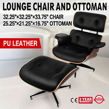 Classic Eames Style Lounge Chair and Ottoman Top Grain Leather Walnut Plywood