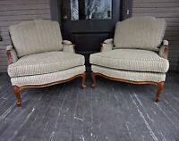 Bergere Lounge Chair PAIR Ethan Allen French  Louis XV Style Striped Fabric
