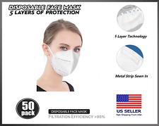 [50 PACK] KN95 Protective 5 Layers Face Mask BFE 95% PM2.5 Disposable Respirator