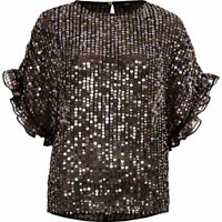 Ex River Island Sequin Embellished Black Frill Sleeve Top Size XS - L
