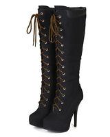 Latisha Black Knee high Lace up Boots Platorm Stiletto Heel Women's shoes