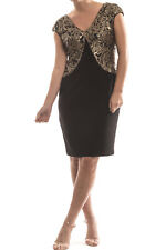 Joseph Ribkoff Black/Gold Sequin Lace V-Neck Dress Size 10 (UK 12) New 174536