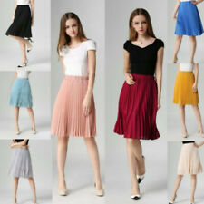 Women Chiffon Summer Casual Evening Party Prom Vintage High Waist Pleated Skirt