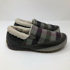 Sorel Out N About Plaid flannel Slipper Suede Leather Faux Fur Size 7.5