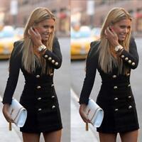 Women Slim Winter/Autum Long Sleeve Buttons Casual Bodycon Cocktail Mini Dress