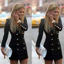 US Women Casual Slim Autum Long Sleeve Buttons Bodycon Cocktail Mini Dress XL