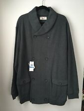 NWT Men's Penguin Cotton Knit Gray Doublebreasted Jacket Shawl Collar Pockets