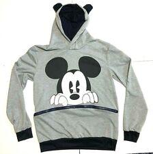 Retro Disney Zippered marsupial Pocket Grey Mickey Mouse Hood Ears Print Retro L