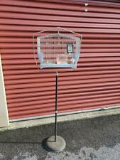 Vintage Art Deco Hendryx Metal Bird Cage & Cast Iron Base Stand-Swings-Extras