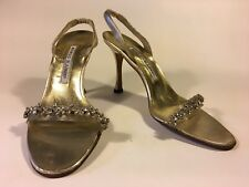 Manolo Blahnik SALE! silver, crystal and nude acrylic silver leather body sole 9