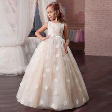 Spitze-Rosa-Mädchen-Kinder-Blumenmaedchen-Kommunionkleid-Hochzeit-Abendkleid