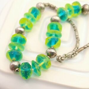 Vibrant Green Glass Bead Necklace Eclectic Lagenlook Jewellery Gift for Her