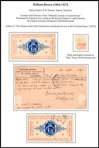 1890's William Brown Stamp Dealer Advertising Seals, Labels, Hinges etc