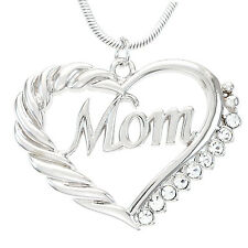 Heart MOM Necklace Love Pendant Women Mother's Day Fashion Jewelry Gift For Mom