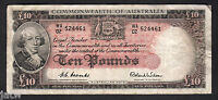 Australia R-62. (1954) 10 Pounds.. Coombs/Wilson - Commonwealth Bank.. aVF