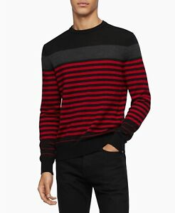 Calvin Klein Men's Merino Colorblock Striped Sweater Red/Black/Gray Size M