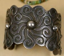 Vintage Old Pawn MEXICAN TAXCO Forged Stamped Sterling Silver .925 Wide BRACELET