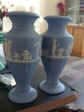 lovely mini blue white vases Wedgwood ltd England stamp on them both