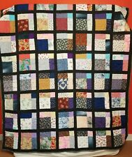 Handmade Patchwork Quilt Disappearing Nine Patch Pattern Black Multi Colour Twin