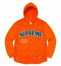 NWT Supreme Men's Mesh Hooded L/S Baseball Jersey Orange Size Small SS20