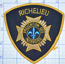 CANADA, RICHELIEU FIRE PREVENTION DES INCENDIES QUEBEC PATCH