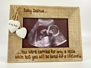 Angel Baby Loss Miscarriage Memorial   Personalised Photo Frame Driftwood