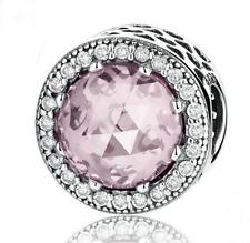 DIY Silver European CZ Charm Pink Crystal Spacer Beads Fit Necklace Bracelet